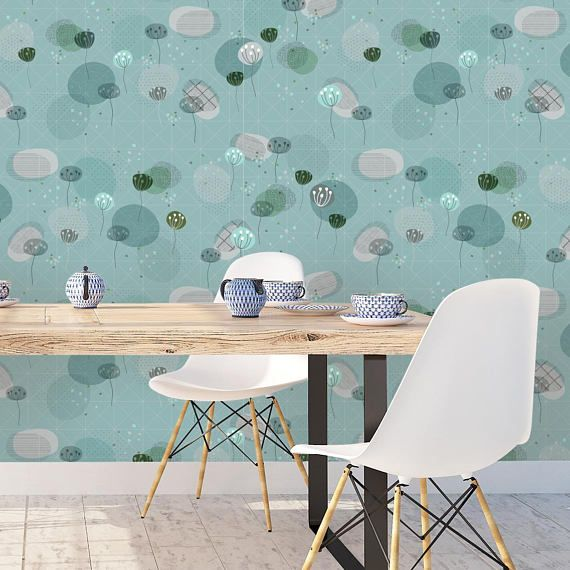 Floral Removable Wallpaper, Floral Peel & Stick Wallpaper, Self Adhesive Wallpaper, Boho Chic Wallpaper, Room Wallpaper, Temporary Wallpaper – wall elevation of living dining
