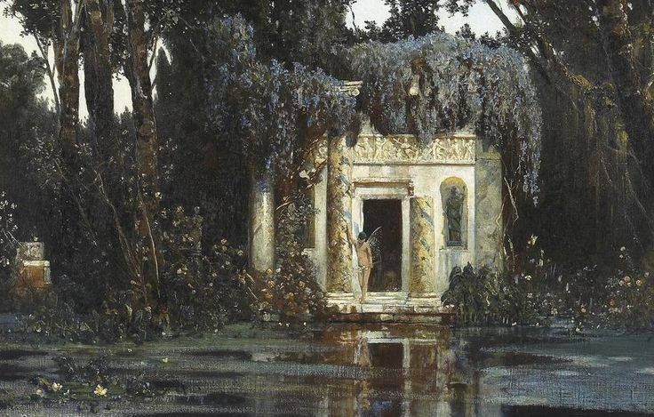 Max Roeder (1866-1947), A sprite by a lakeside temple, 1894