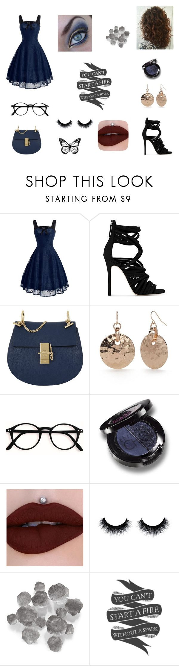 """""""You can't start a fire without a spark,"""" by writeitnow ❤ liked on Polyvore featuring beauty, Giuseppe Zanotti, Chloé, New Directions, Christina Choi Cosmetics, Palecek, Native State, gold, black and Blue"""