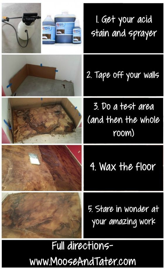 How to acid stain concrete for beginners - Moose tracks and Tater stacks