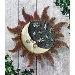 Sun and Moon Wall Art | ... product sun and moon 2pc set hanging wall art plaque decor sun 12