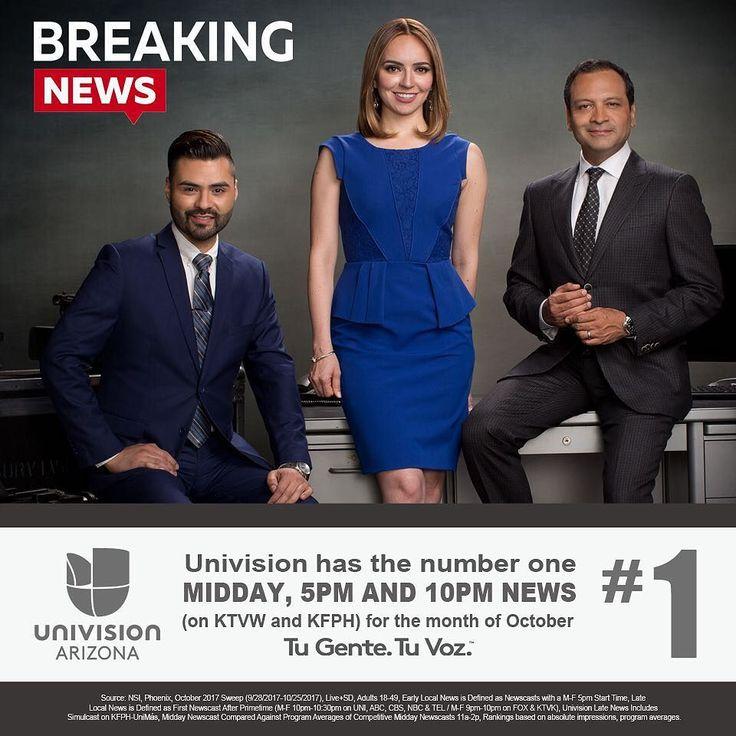 En inglés o español Univision Arizona es #1 en todos sus noticieros! En octubre somos #1 en el noticiero del mediodía #EdicionDigitalAZ y #1 en los noticieros Univision Arizona a las 5 y 10pm (KTVW y KFPH). Gracias por su sintonía y confianza! #TuGenteTuVoz #EdicionDigitalAZ