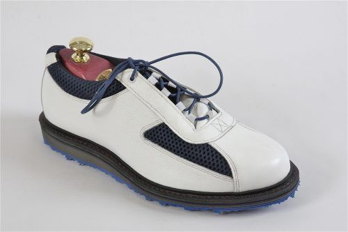 RENEGADE by Allen-Edmonds:  Golf Shoe  Jack Nicklaus Collection, handcrafted in the USA.  White grain leather with navy mesh.  JN9 Last with PU golf sole, recraftable  Available in 3E width and orthotic friendly.