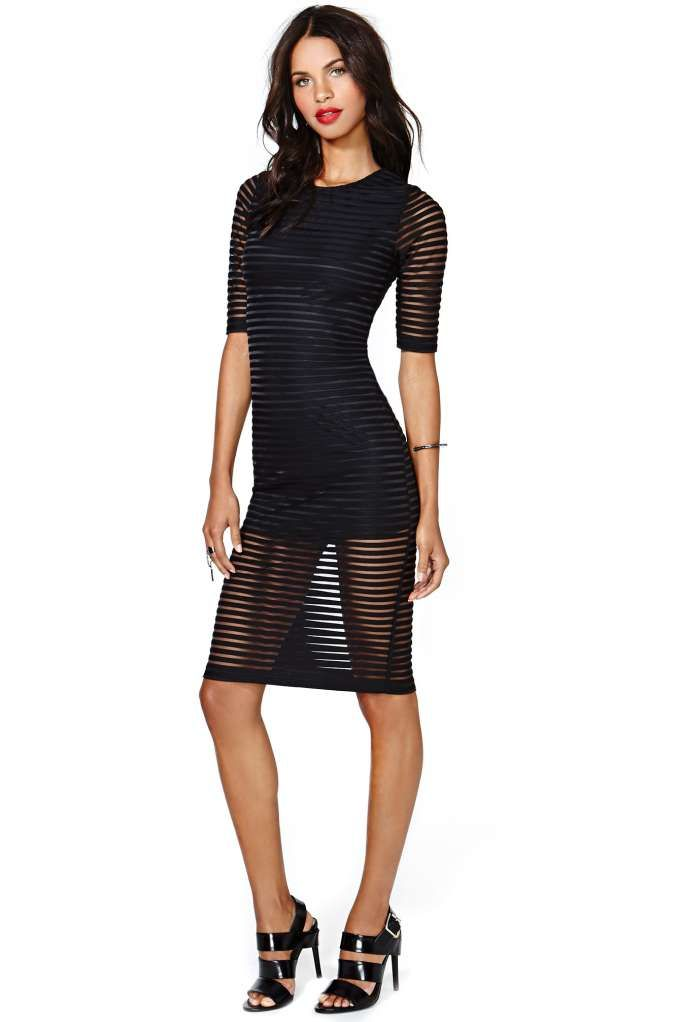 Motel Striped Black Bird Dress