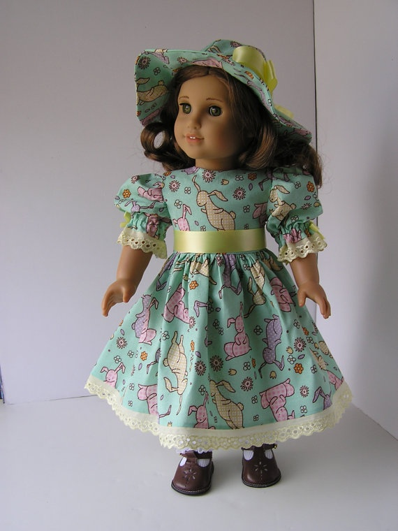 Happy Easter Dress and Bonnet for 18 Doll by blinkersoh on Etsy, $22.00