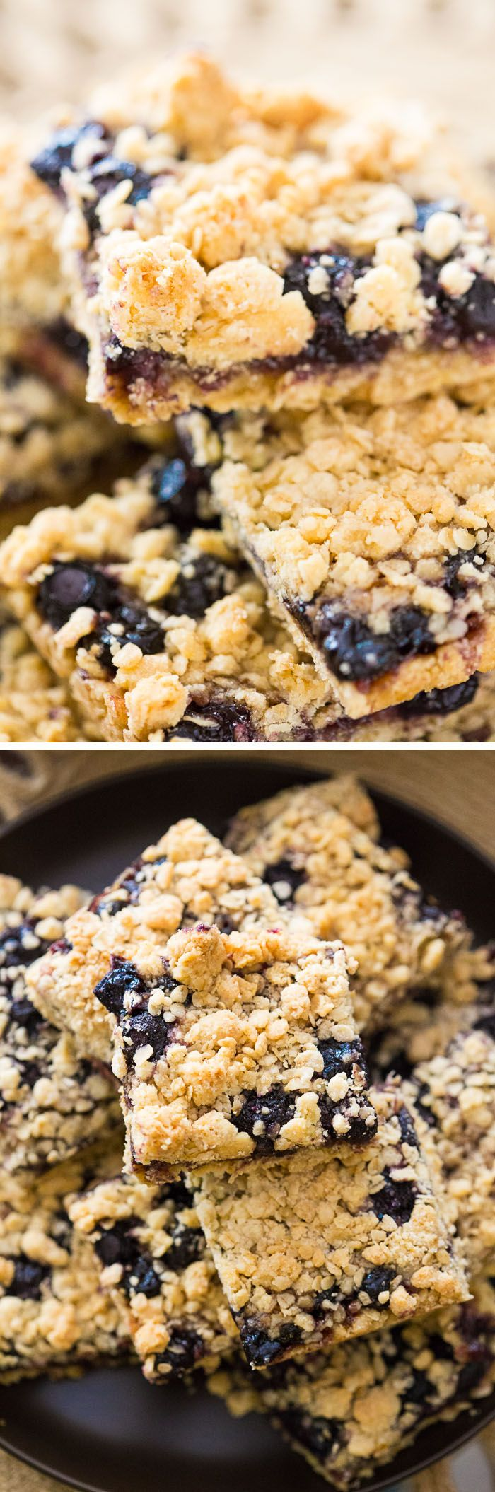 These Blueberry Oatmeal Bars are so quick and easy to whip up and so buttery and delicious! Use any flavor of preserves to make this simple dessert.