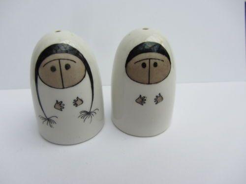 vintage arabia salt and pepper pots esteri tomula eskimo boy and girl finland | eBay
