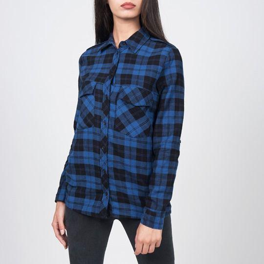 Siyah-Saks Ekose Gömlek G15-540184