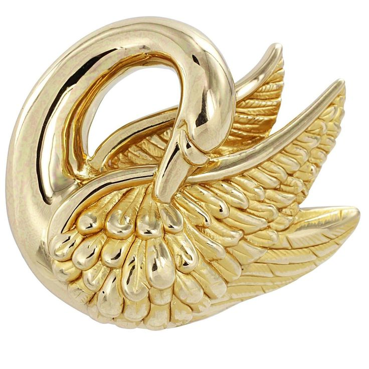 Gold Swan Pin | From a unique collection of vintage brooches at https://www.1stdibs.com/jewelry/brooches/brooches/