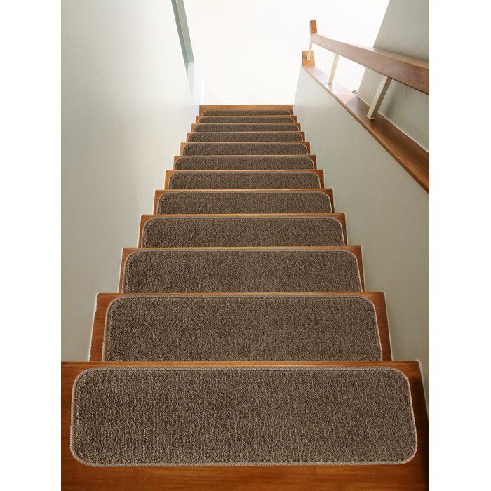 Thedford Stair Tread Stair Runner Carpet Stair Tread Rugs | Wayfair Carpet Stair Treads | Tucker Murphy | Carpet Runners | Oaks Godinez | Stair Railing | Beige Carpet