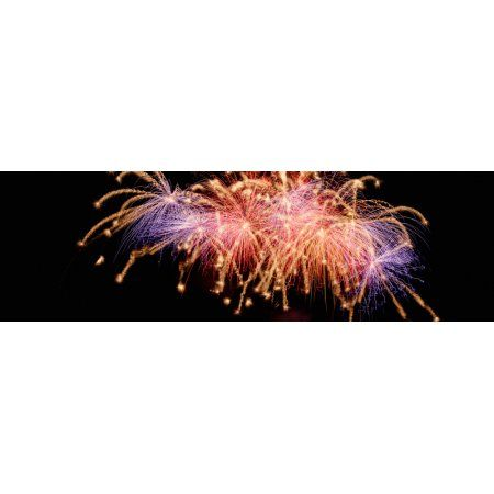 Cluster of fireworks exploding Canvas Art - Panoramic Images (12 x 38)