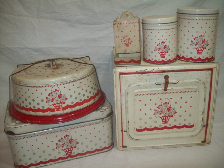 Vintage RED DOTS FLOWERS BREAD BOX CANISTERS CAKE CARRIER MATCH STICK HOLDER SET | eBay