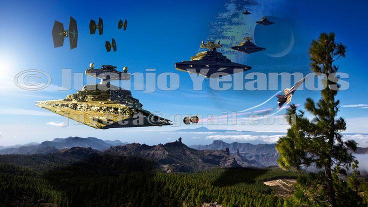 https://flic.kr/p/HNzLc8 | Estrella de la Muerte sobre el Roque Nublo | Recreación artística.