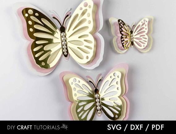 Butterfly wall art 3D butterfly nursery decor Paper Butterfly SVG 3D Butterfly Cutting File Templates butterfly wall decor DXF