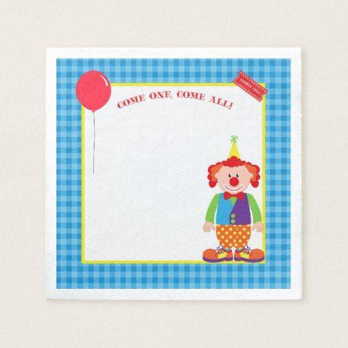 Colorful Circus Clown Birthday Custom Napkins