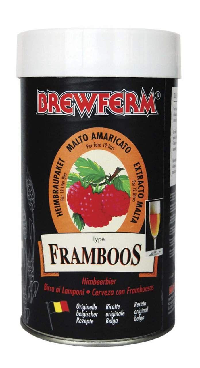 Brewferm – FRAMBOOS (Ahududu)  Bira Kiti   Brewferm'üm ahududu özütü içeren bu bira kiti yaz akşamları için serinletici, yılın herhangi bir akşamı içinse son derece lezzetli bir aperatiftir.    Framboos (Ahududu) bira kirinin başlangıç yoğunluğu (OG) 1053'tür ve bu yoğunlukla 12 litre % 5,5 alkol oranlı bira elde edilir. #beer #brewferm #bira #Framboos