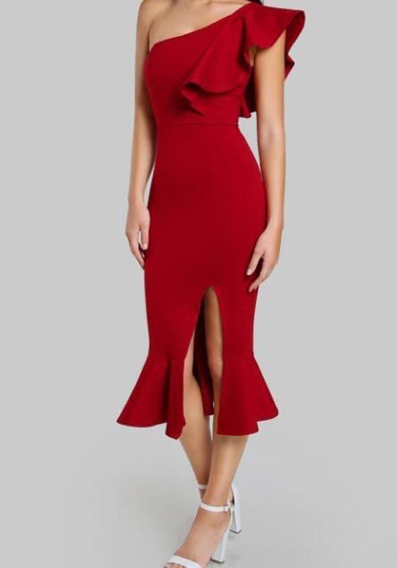 fef9f219f9b DaysCloth Red Ruffle Irregular Slit One Shoulder Mermaid Bodycon Elegant  Prom Evening Party Midi Dress