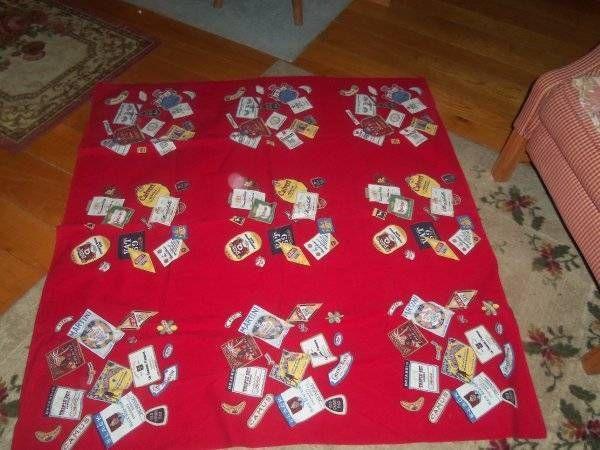 Vintage Tablecloth Wilendur Liquor Red Black Head Rum Cherry Brandy Etc.  Bright