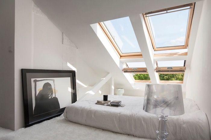 möbel für dachschrägen weiße möbel design ideen wandbild schwarz ...