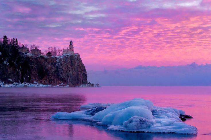 Split Rock Lighthouse, Duluth, Minnesota, USA Purple Sunrise by Ryan Engstrom