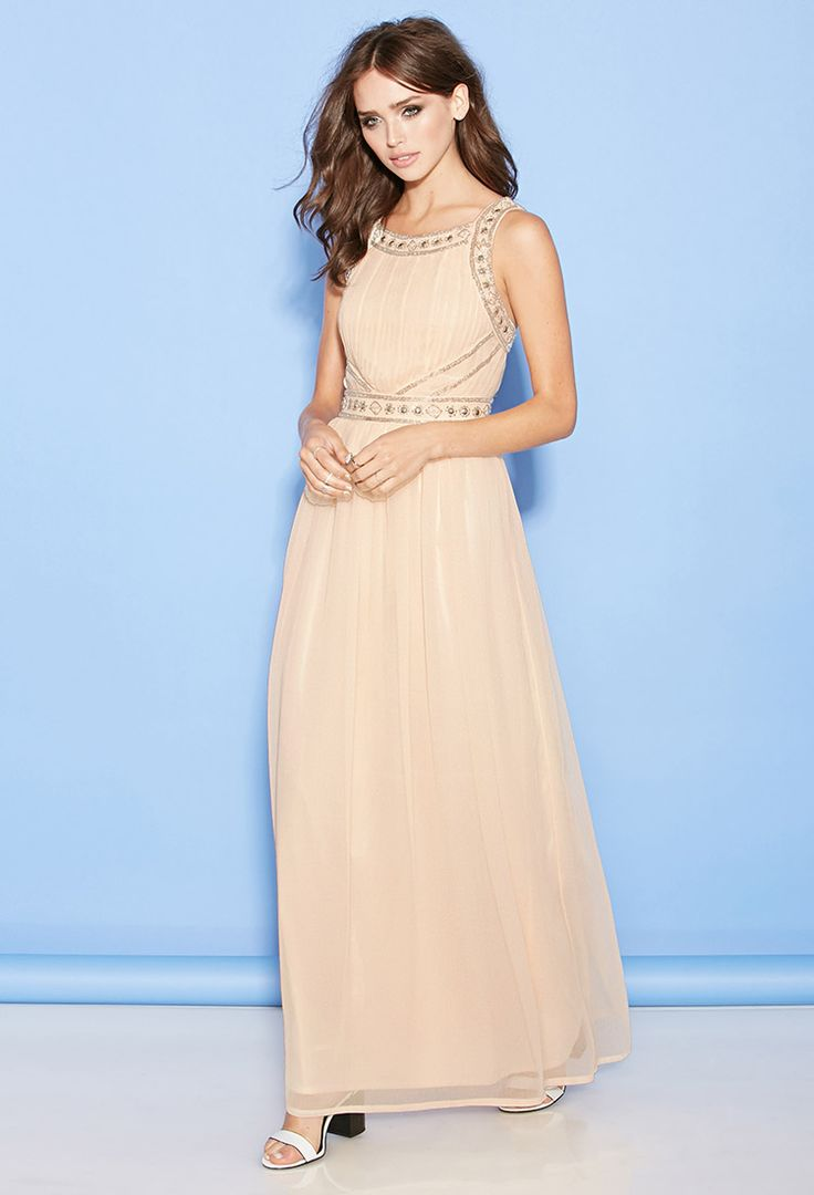 Beaded maxi evening dress