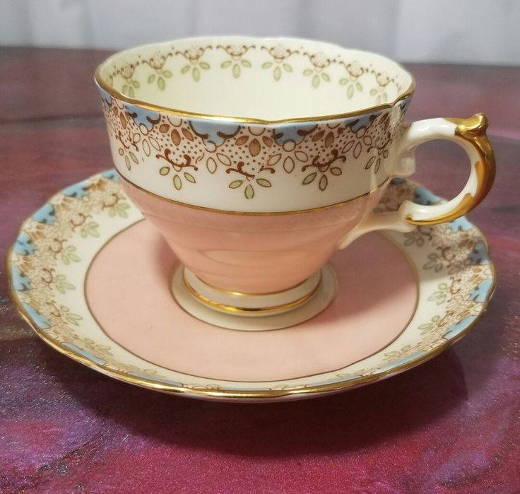 Plant Tuscan Tea Cup Saucer Vintage China Pink with Gold Trim #7469 | Pottery & Glass, Pottery & China, China & Dinnerware | eBay!