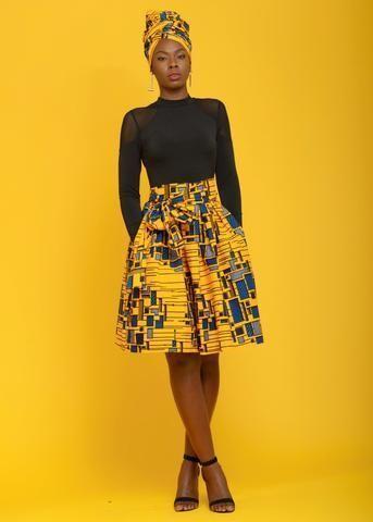 Skirts - Amsa African Print Midi Skirt With Sash (Yellow/Blue) | | Fall Fashion | de 2019 | Roupas da africa, Roupas afros femininas e Vestido africano