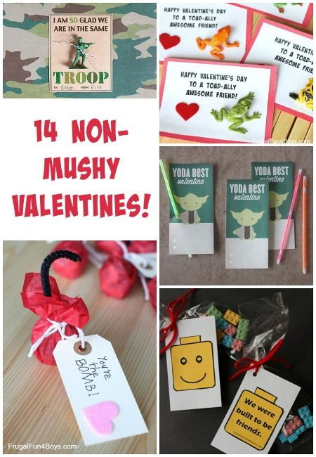 14 Valentines to print or make that are do not have mushy stuff! Definitely boy approved options. Love the frog ones!