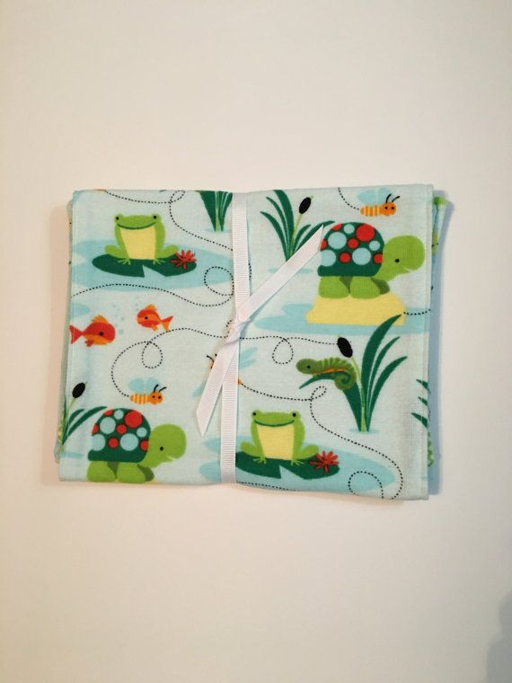 2-pk Frog & Turtle Print Burp Cloths by 5BlueberryLane on Etsy