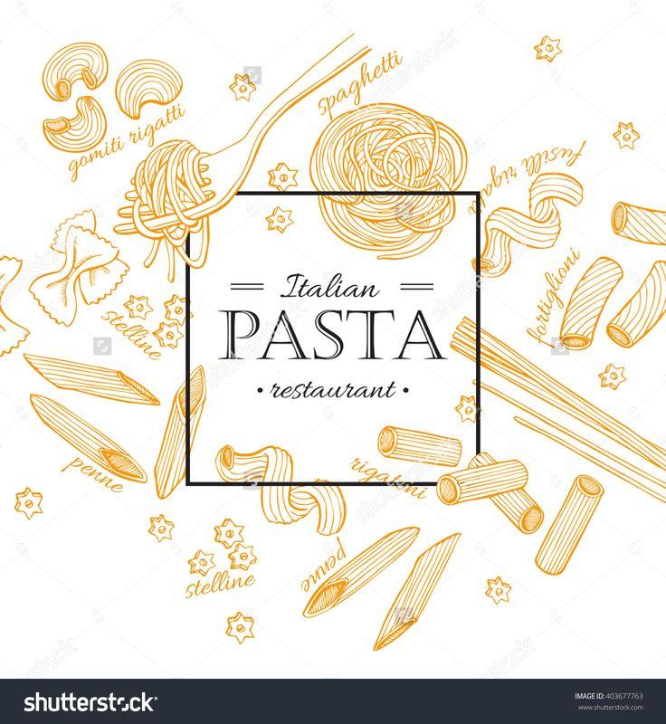 Vector Vintage Italian Pasta Restaurant Illustration. Hand Drawn Banner. Great For Menu, Banner, Flyer, Card, Business Promote. - 403677763 : Shutterstock