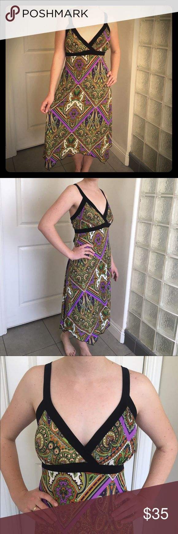 Gorgeous Paisley Flowy Summer Dress Only worn twice. Practically new. Flows very well and still gives you a nice waist!! Works with a lot of shoes. You can either wear it casual or dress it up!! Dress Barn Dresses Midi