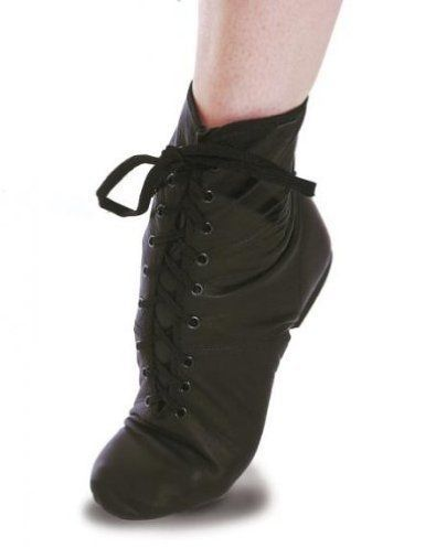 Roch Valley Black Leather Lace up Jazz Boots Suede Split ...
