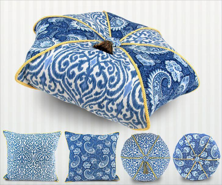 Hexagon Pillow with Wraparound Cording Plus Round & Square Companions: Waverly World   Sew4Home