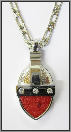 Ostrich leather crystal oval pendants - Flame Red OP11