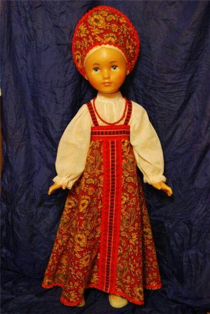 Vintage Soviet doll in Russian folk costume