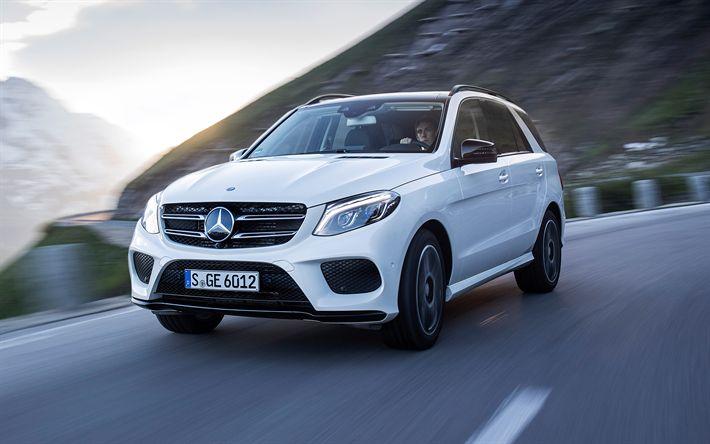 Descargar fondos de pantalla Mercedes-Benz GLE, 4k, 2017, blanco GLE, coches nuevos, coches alemanes, Mercedes
