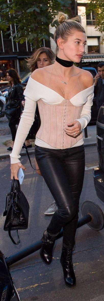 Who made Hailey Baldwin's pink top, leather pants, handbag, and platform boots?