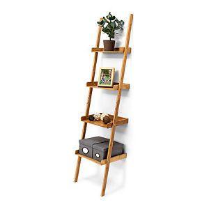 Leiterregal Bambus Wandlehnregal Standregal Bambusregal mit 4 Etagen Holzregal  | eBay