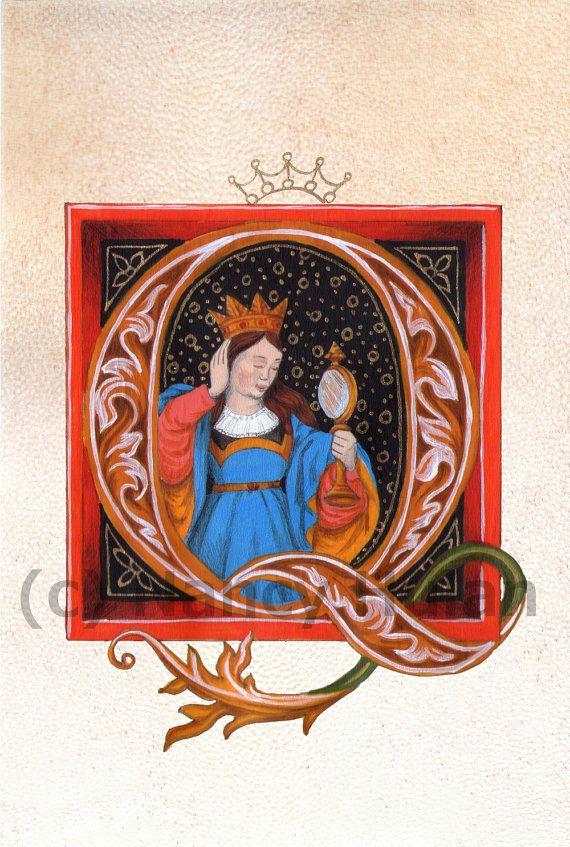 Middeleeuwse verlichte Q, alfabet Letter Q, middeleeuwse geschilderde brief Q, geschilderd eerste, Renaissance brief, middeleeuwse alfabet