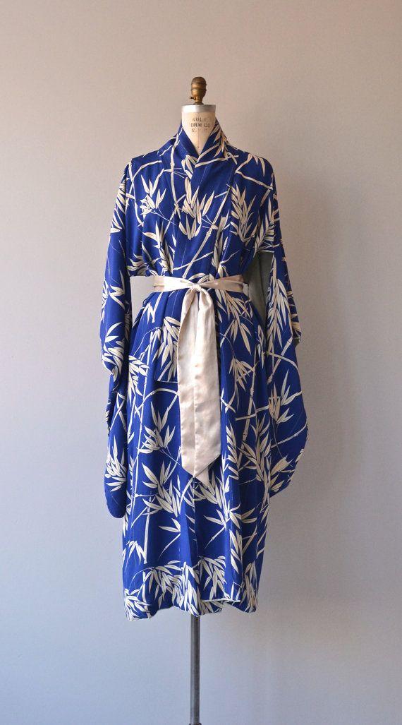 Sago Palm kimono silk kimono robe vintage japanese by DearGolden