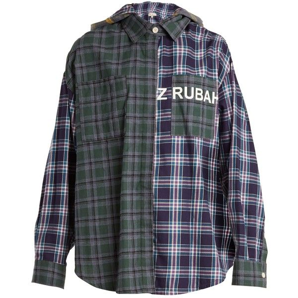 Natasha Zinko Oversized checked cotton hooded shirt ($468) ❤ liked on Polyvore featuring tops, green multi, hooded shirt, oversized shirt, loose fitting tops, loose tops and cut loose shirt