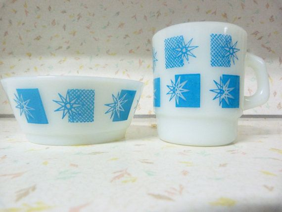 Fire King Blue 1970s Cup and Bowl Set Blue Fire by RavishingRetro, $15.50