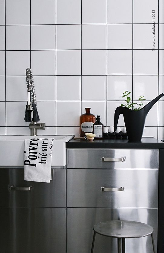 kitchen - stainless steel and white