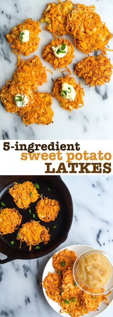 5-ingredient Sweet Potato LATKES! Gluten free, dairy free and made with avocado mayo. A healthy and delicious sweet potato latke everyone will love. Plus it's a fun way to eat spiralized sweet potatoes !