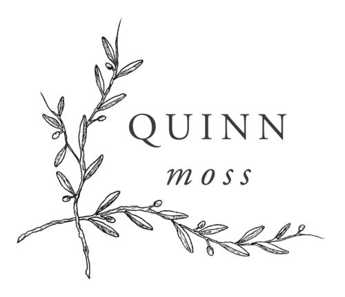 illustrated olive branch logo for Quinn Moss Photography