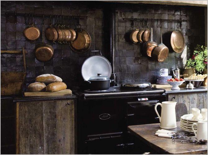Copper ~ love this!: Pots Racks, Dark Kitchens, Dreams Kitchens, Copper Can, Rustic Kitchens, Black Kitchens, Cozy Kitchens, Black Tile, Country Kitchens