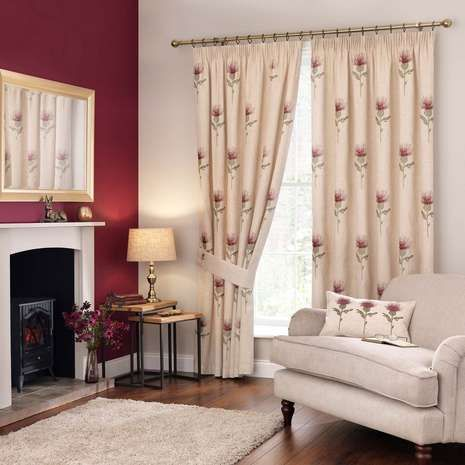 Thistle Red Pencil Pleat Curtains | Dunelm