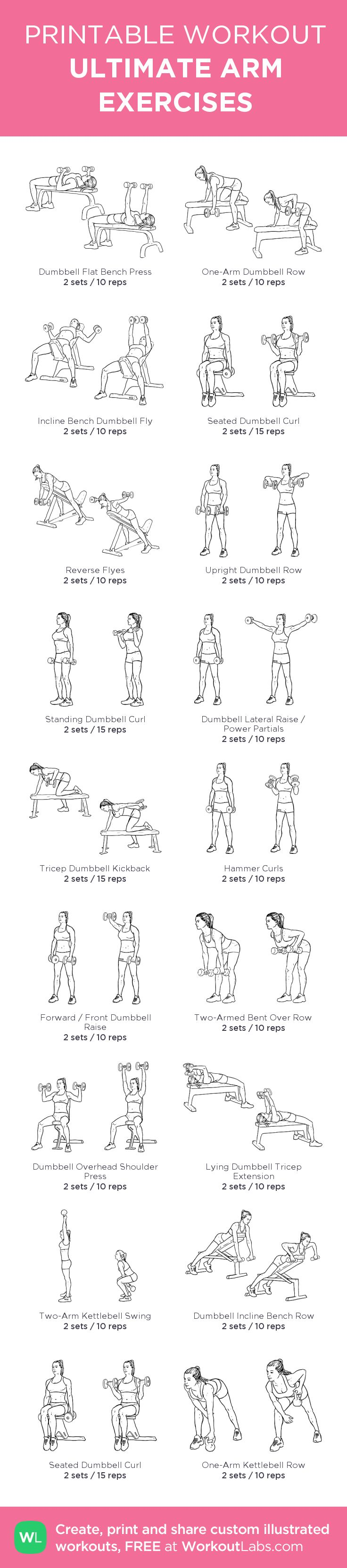 ULTIMATE ARM EXERCISES: my visual workout created at WorkoutLabs.com • Click through to customize and download as a FREE PDF! #customworkout