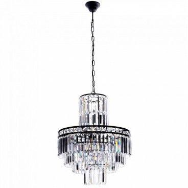 Kryształowa lampa wisząca Aurora podłużne bezbarwne kryształy wykończenie kolor czarny do sypialni jadalni salonu - LampyTanie - 1918,52 PLN