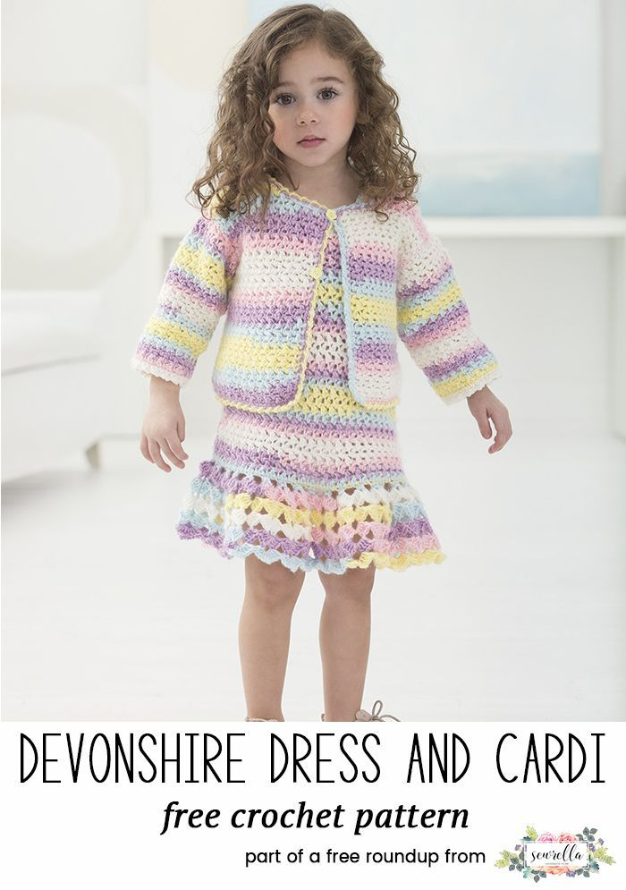 Crochet this cute girls dress and cardigan sweater for kids from my baby playtime essentials free pattern roundup!